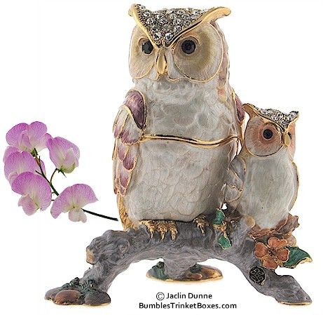 Image detail for -Cloisonne Owl Trinket Boxes x 2 :: Memories, Keepsake and Secret Lock ...