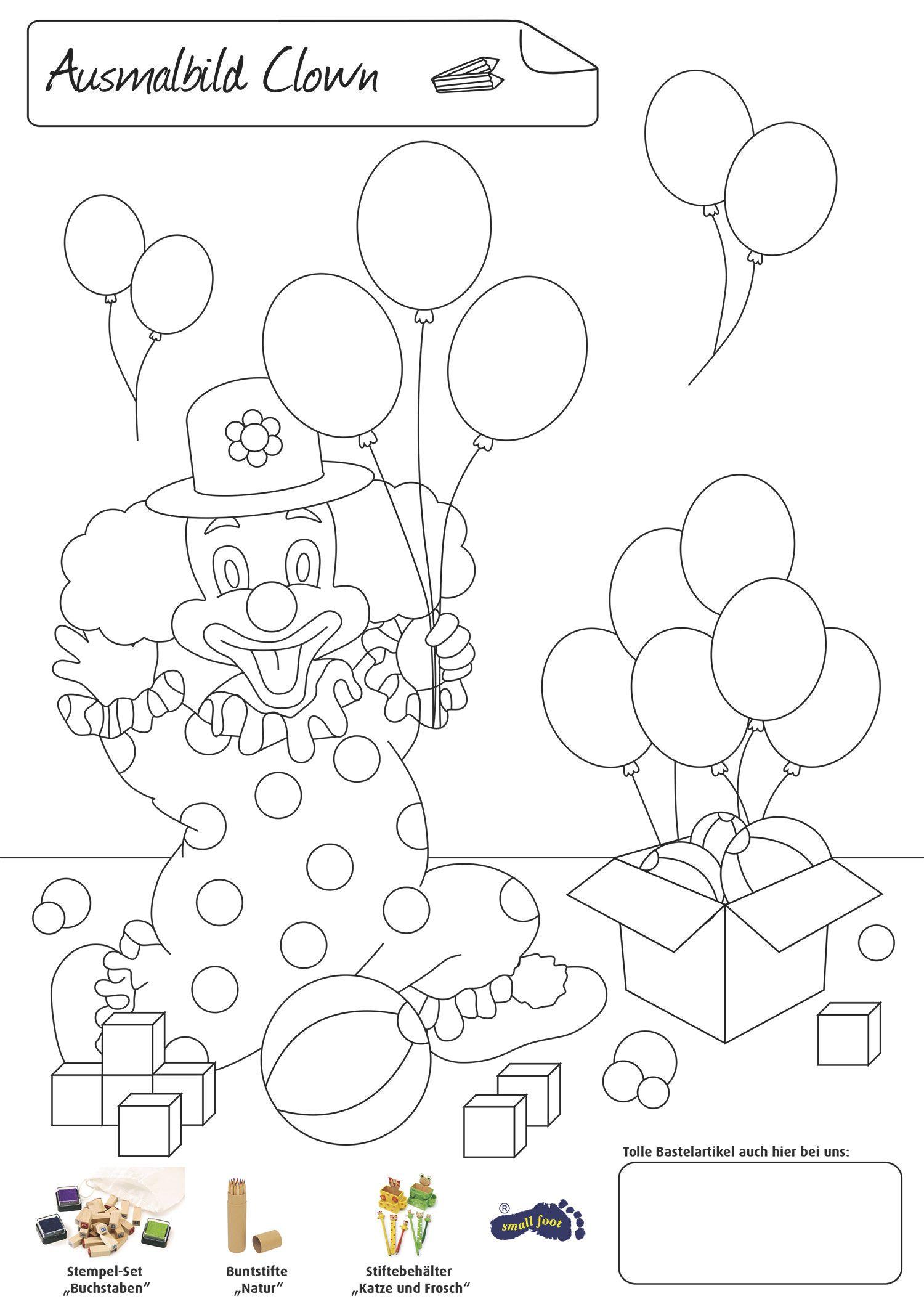 Ausmalbild Clown | Bastelvorlagen / Craft templates | Pinterest ...