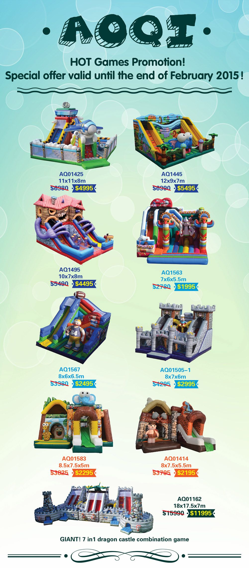 Hot Inflatable Games Promotion now is on!Special offer valid until the end of February 2015!Click below image and please fell free to Email us:info@aoqiinflatables.com  (View more products details: http://aoqi.en.alibaba.com/productgrouplist-801126356/32_Promotion_on_Feb_2015.html)