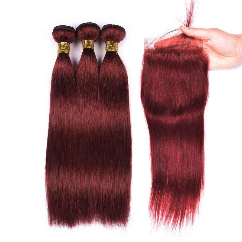 Color Weave Hair 33 Straight Human Hair 3 Bundles With Lace Closure