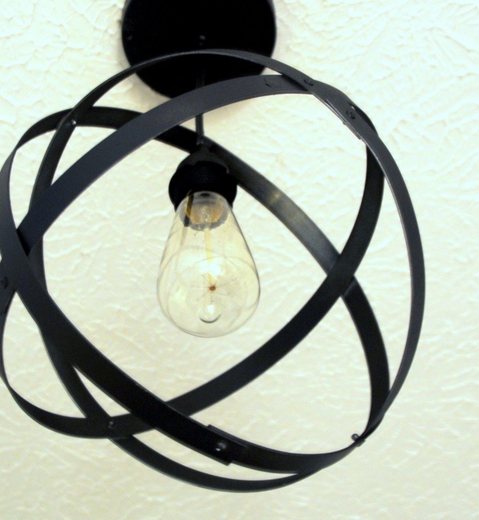 Make A Light Fixture With Wine Barrel Metal Rings