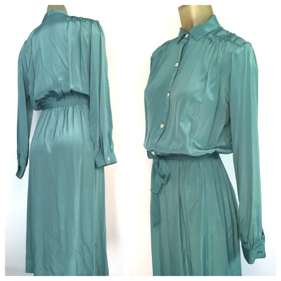 Silk Business Dress Vintage Office Light Teal By Rocketshopvintage