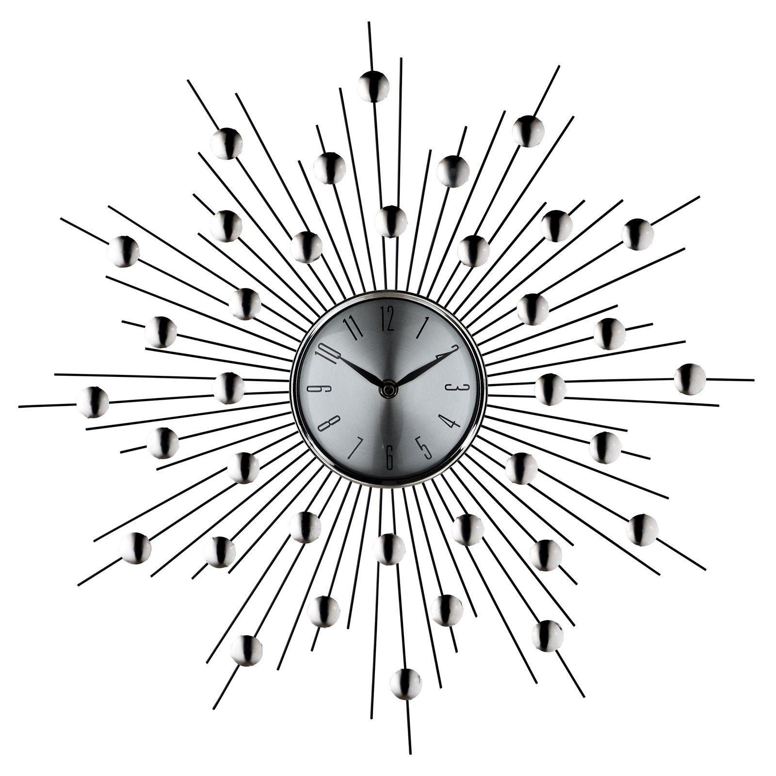 Starburst Wall Clock In Silver Black Retro Wall Clock Silver Wall Clock Wall Clock Modern