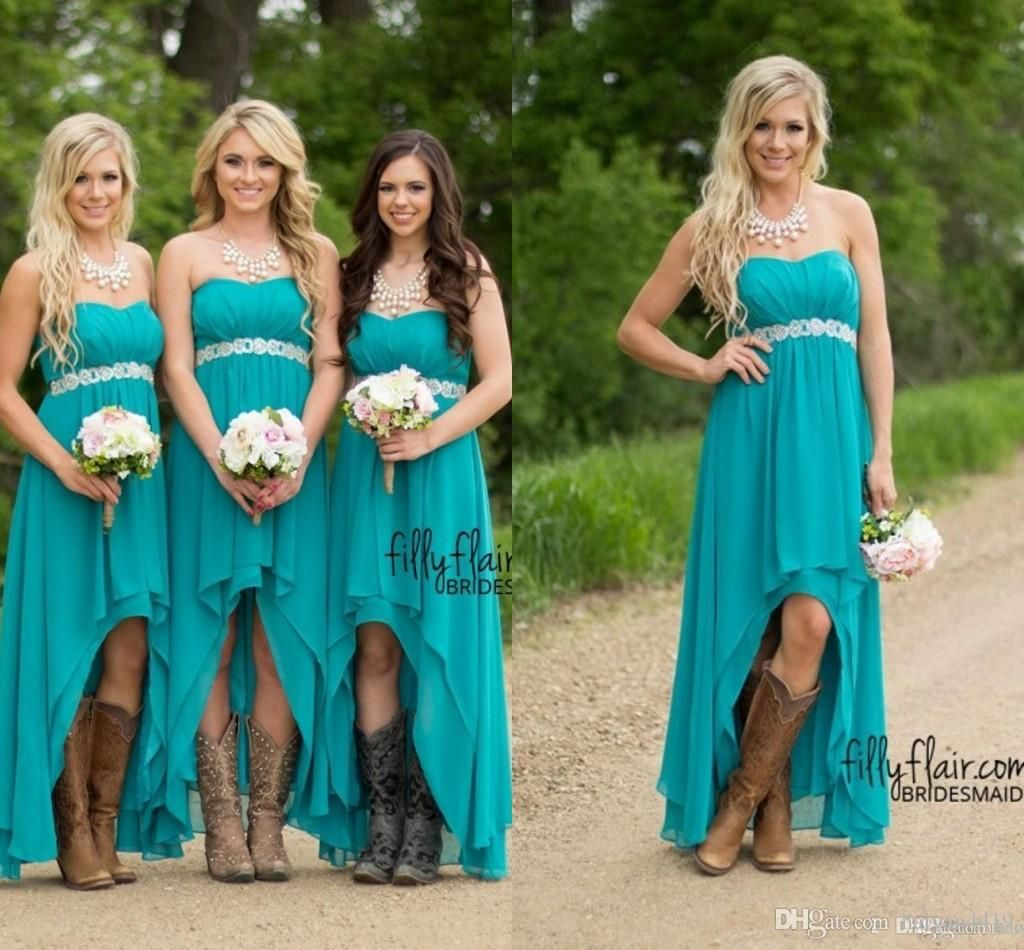 Country Bridesmaid Dresses 2017 Cheap For Weddings Teal Turquoise ...