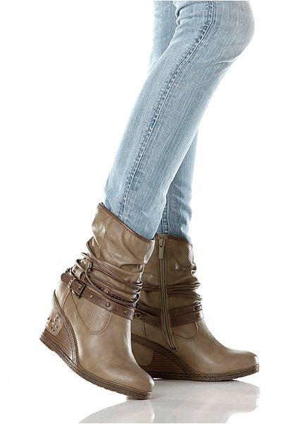 776cb09f0fb1e Botki na koturnie brązowy 37 909284 bonprix | Kocham buty :) | Boots ...