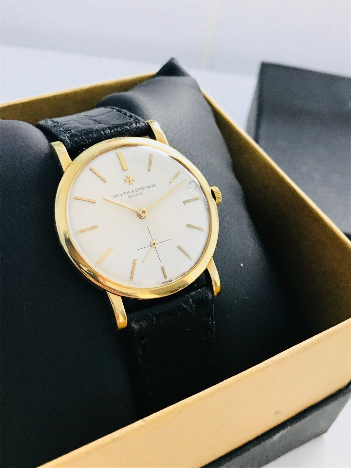 Vacheron Constantin Patrimony Watch Solid 18k Ultra Thin Cal 1001 Working Vintage Watches Vacheron Constantin Leather Watch