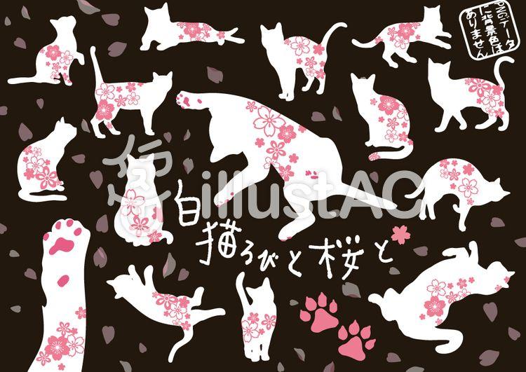 【無料素材】桜模様の猫イラスト(しろねこ) フリー素材