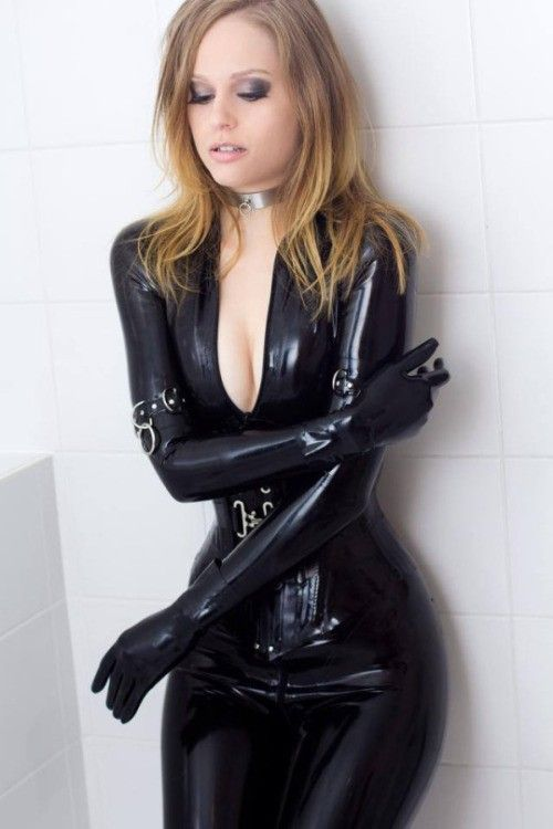 Latex Catsuit And Corset And Gloves