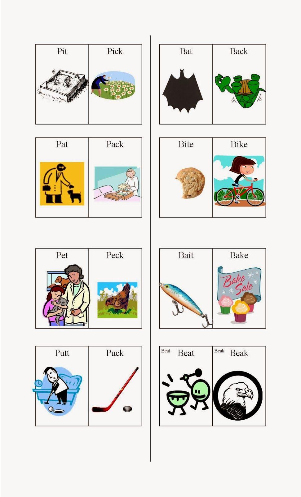 SpeechLanguageTherapySessions Final TK Minimal Pairs with – Minimal Pairs Worksheets