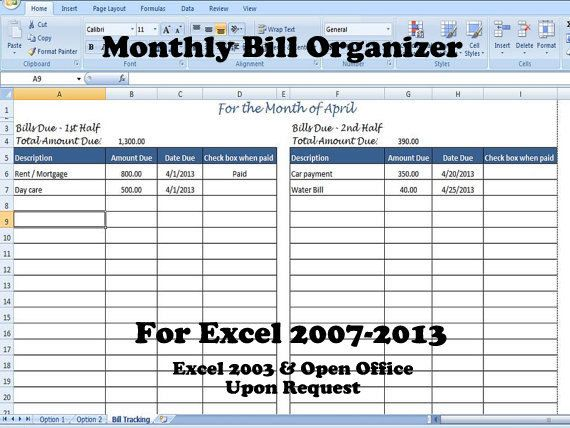 Monthly Bill Organizer, Bill Tracker - Calculates Total Due for ...