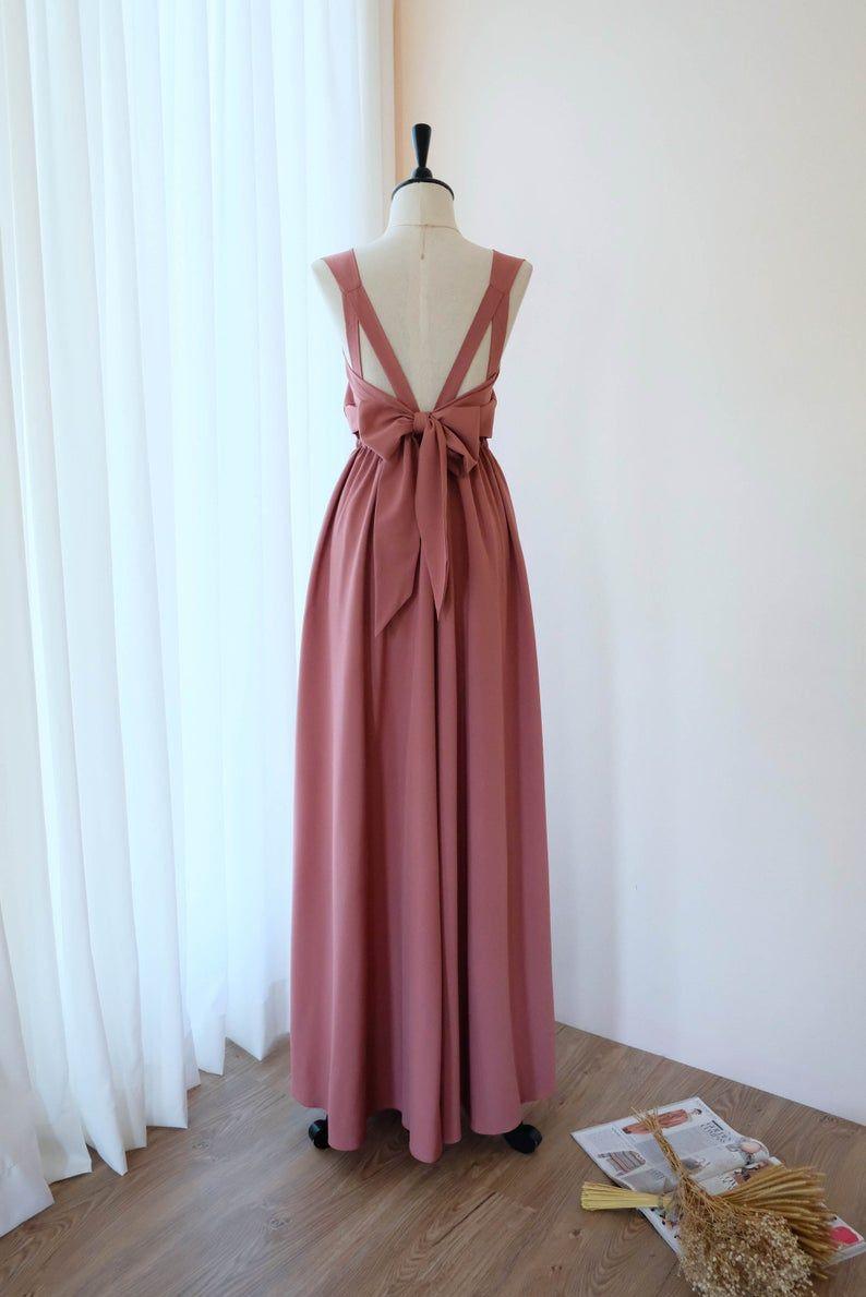 English rose Pink dress Long Bridesmaid dress Dusty Pink Wedding Dress Long Prom dress Party dress Cocktail dress Maxi dress Evening Gown