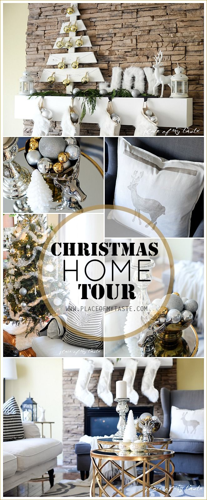 Christmas home tour - Come see this gorgeous and festive Christmas home decor. Placeofmytaste.com