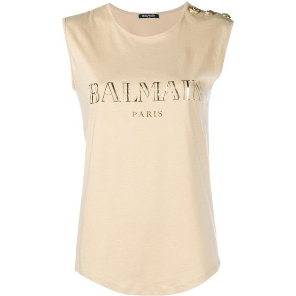 Balmain Sleeveless Army Top ($280) ❤ liked on Polyvore featuring tops, pink sleeveless top, army top, relaxed fit tops, sleeveless tops and balmain