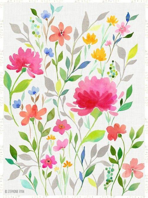 Watercolor Tumblr Acuarelas Flores Y Colores Pinterest