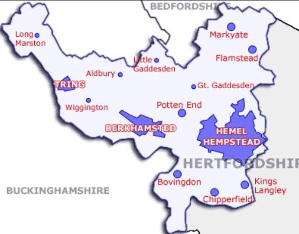 Map of Dacorum Borough West Hertfordshire Hertfordshire Hemel