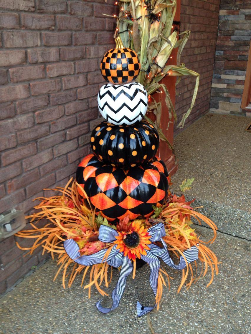 Halloween black, white and orange painted pumpkin topiary