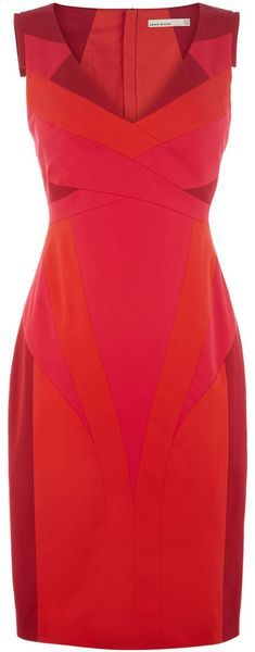 Karen Millen Colourful Contrast Collection Dress in Pink