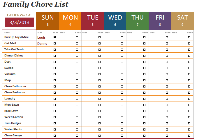 The family chore list template will help you manage the work more ...