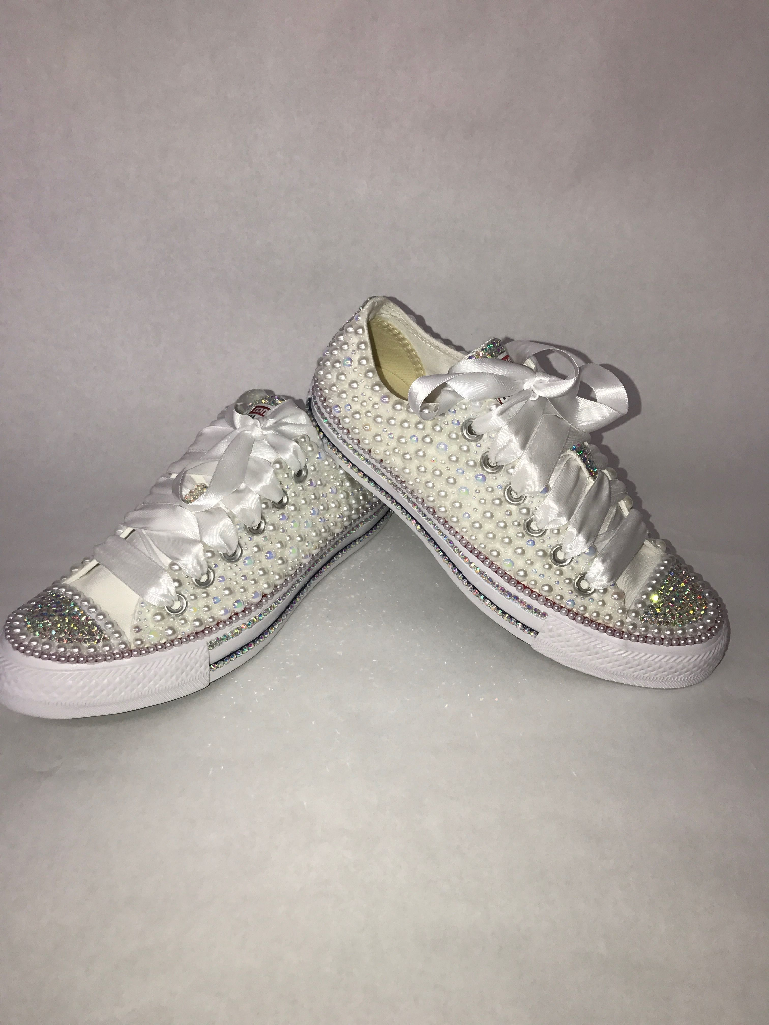 e7f16459891c Custom bling converse all star chuck taylor sneakers embellished with high  quality rhinestones and pearls. Perfect for weddings shoes
