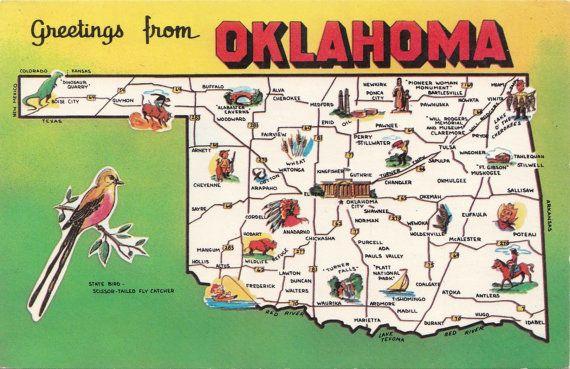 Vintage Greetings From Oklahoma Postcard By Lostpropertyvintage
