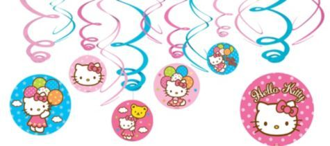 Hello Kitty Swirl Decorations Party City Hk Wreath Party Cakes