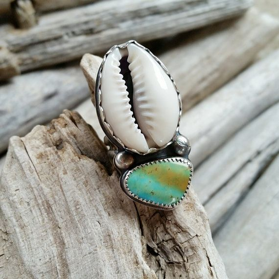 Desert MERMAID Cowrie shell and Turquoise ring, sterling silver, made to order, bezel set, oxidized, boho