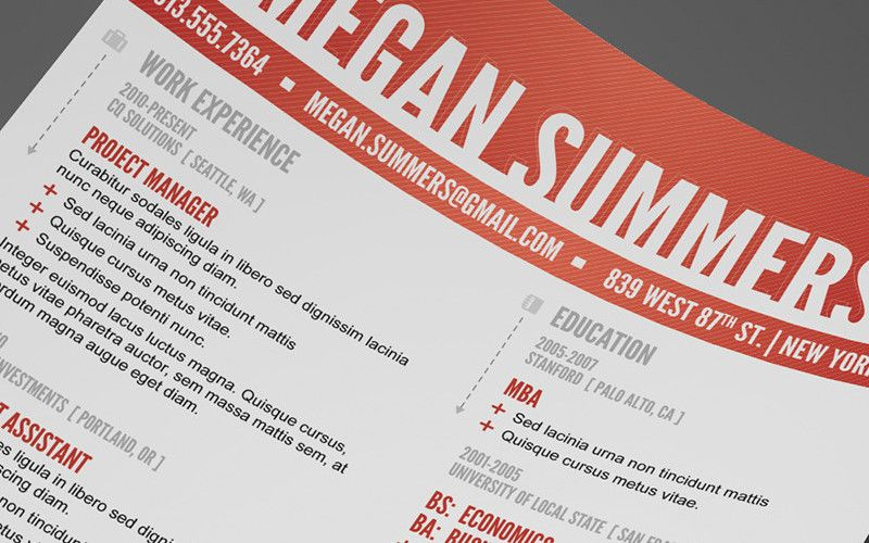 Free Swiss Resume Photoshop Template  Working Girl Tips  Seo