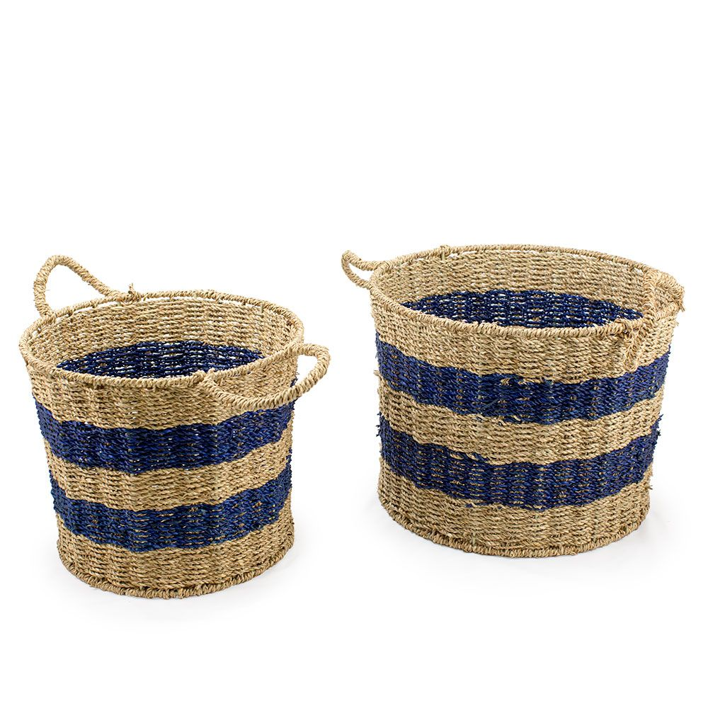 Seagrass Natural and Navy Baskets | House accessories, Organizing ...