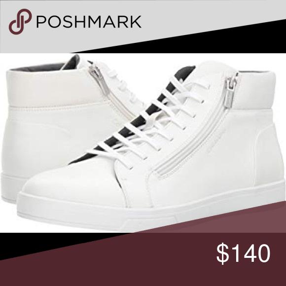 Calvin klein shoes men White leather