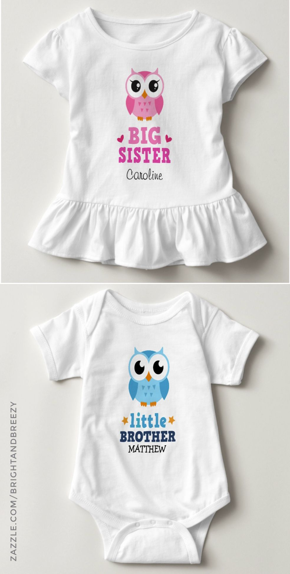 Big Sister Little Sister Set With Owls Matching Sister T-Shirts For Girl /& Baby