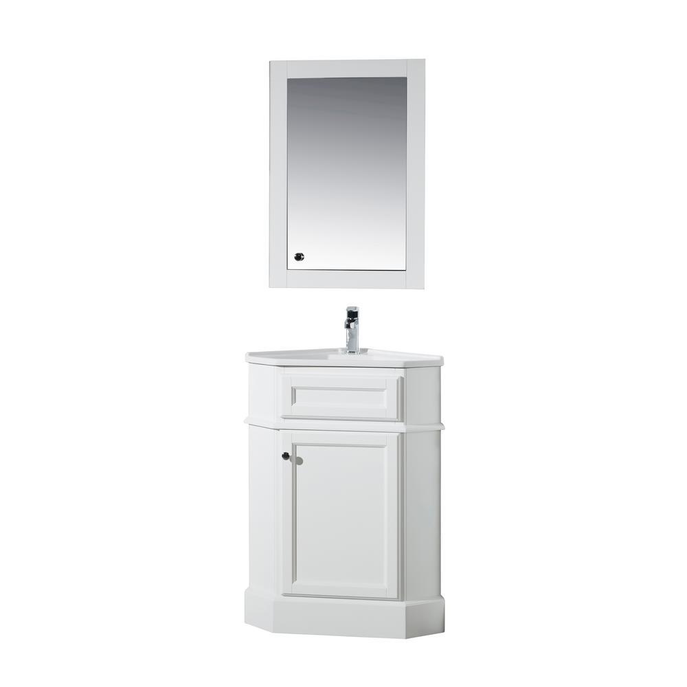 stufurhome Hampton 27 in. W Corner Vanity in White with Porcelain ...
