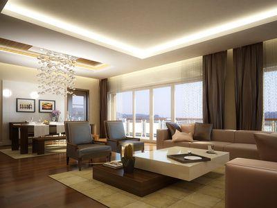 Plafond en staff avec gorge lumineuse | Salon | Plafond salle de ...