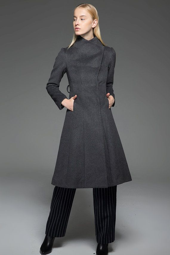 51dbfe9bd Classic Gray Coat - Wool Smart Tailored Fitted Long Women's Coat ...