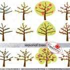 Digital Clip Art Pack – High quality, 300 dpi, png images with transparent backgrounds. Three trees, each represented in Spring, Summer, Fall/Autumn & Winter. Only $3.49!