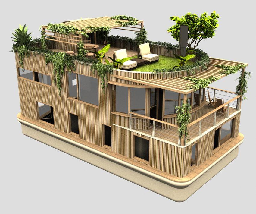 Dit vindt ik een heel erg mooi huis, wat aan veel eisen voldoet, zoals een lichte kleur (makkelijk voor zonnepanelen) of een groen dak. Wat ook goed is dat het van natuurlijke producten is gemaakt (hout) dus het is niet een speciale kunststoffen in de fabriek moeten worden gemaakt