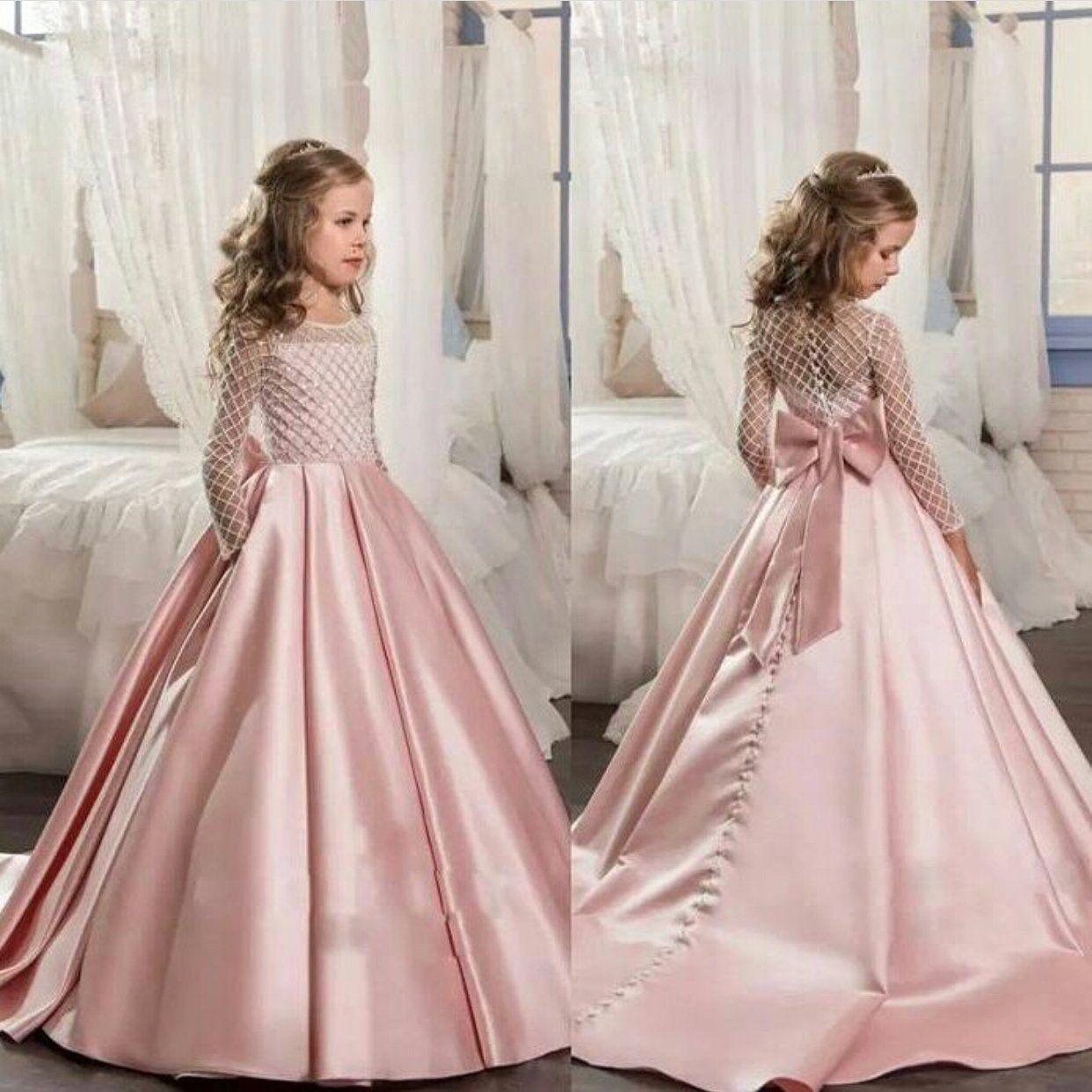 pink satin flower girl dresses for weddings long sleeve cute