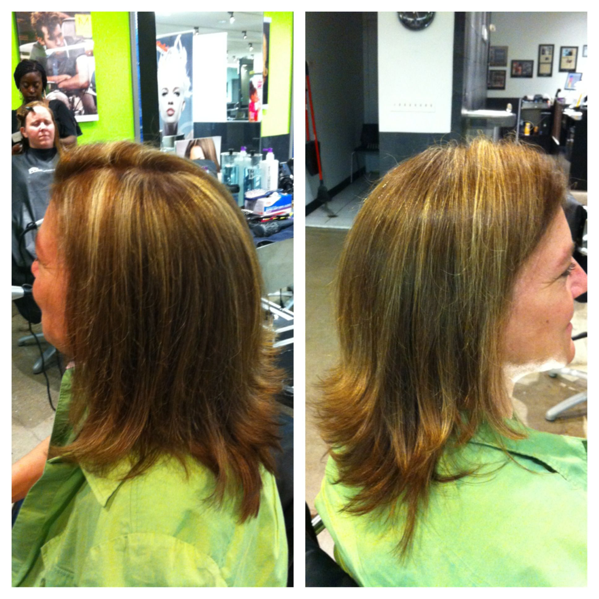 My moms new haircut, color, and first highlights ever!!!!