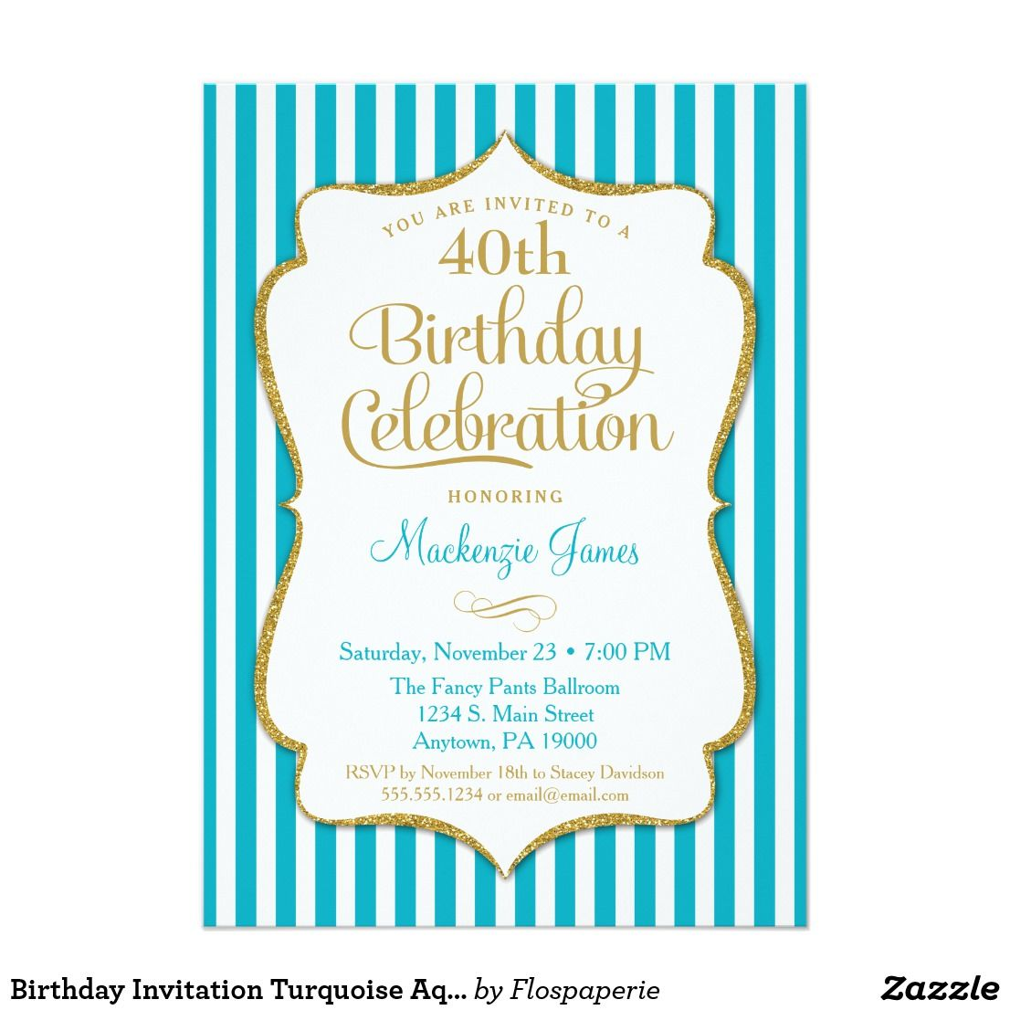Birthday invitation turquoise aqua gold adult teen elegant birthday invitation turquoise aqua gold adult teen an elegant birthday party invitation in turquoise and gold filmwisefo
