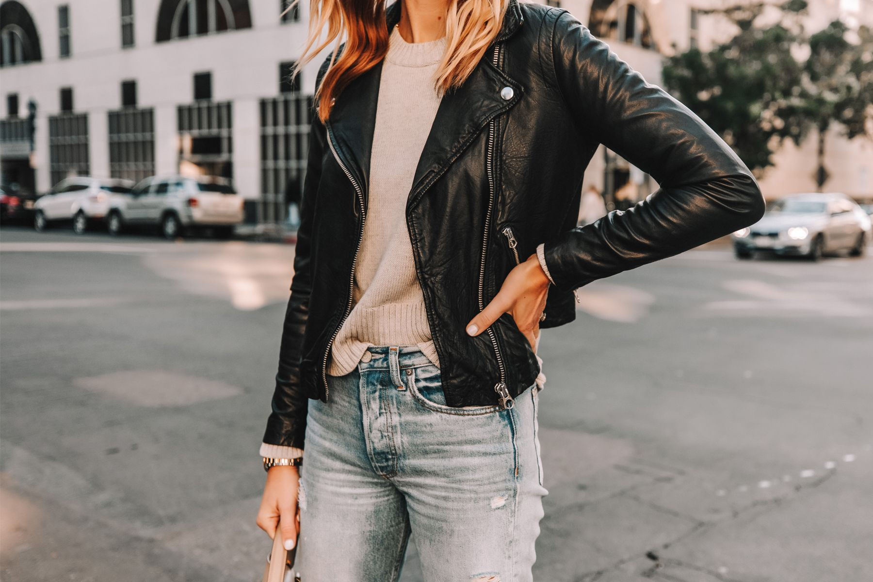 Fashion Jackson Wearing Madewell Black Leather Jacket Grey Sweater Ripped Jeans Jacket Outfit Women Leather Jacket Style Suede Jacket Women [ 1200 x 1800 Pixel ]