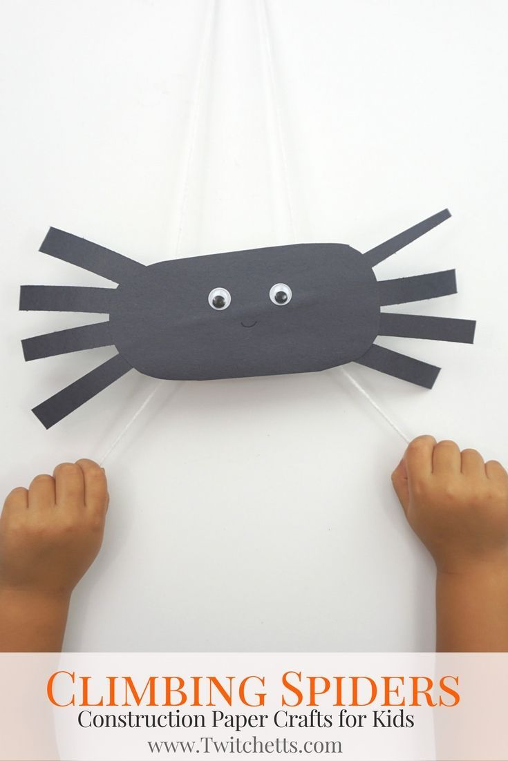 climbing construction paper spiders halloween crafts for kids