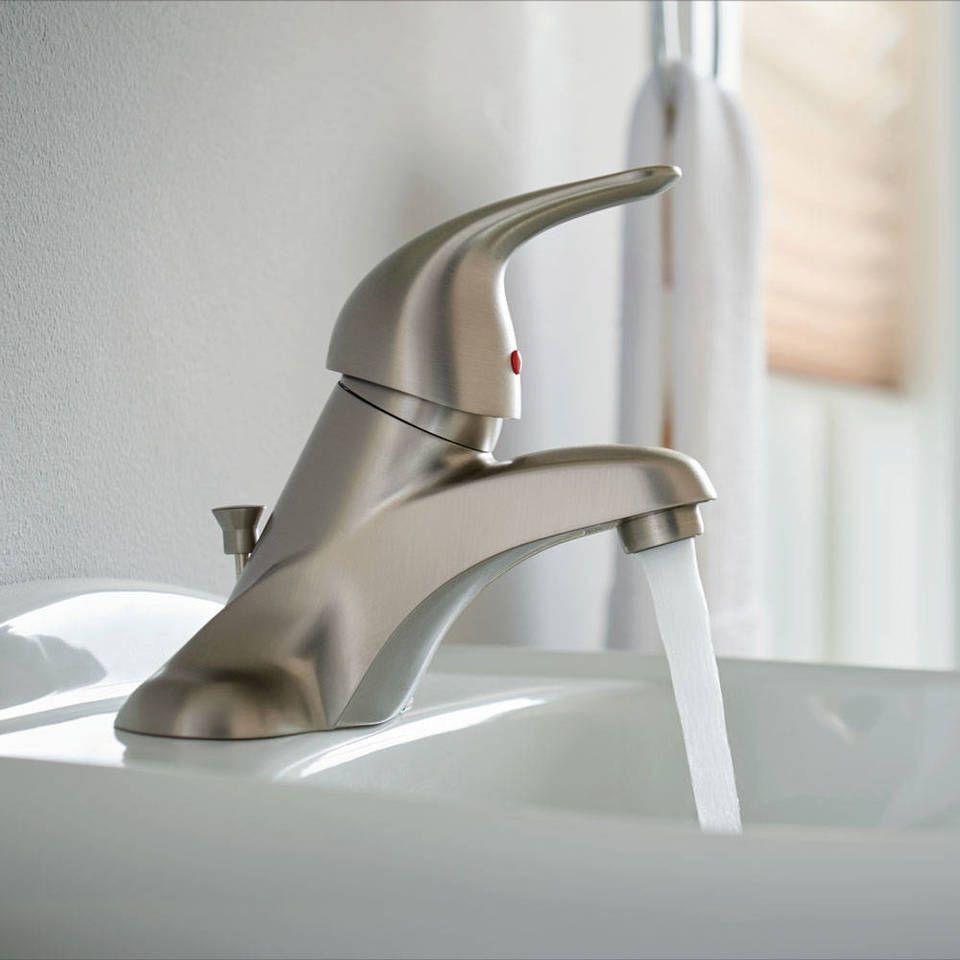 Moen Adler Spot Resist Brushed Nickel 1 Handle 4 In Centerset Watersense Bathroom Sink Faucet With Drain Lowes Com Sink Faucets Faucet Moen [ 960 x 960 Pixel ]