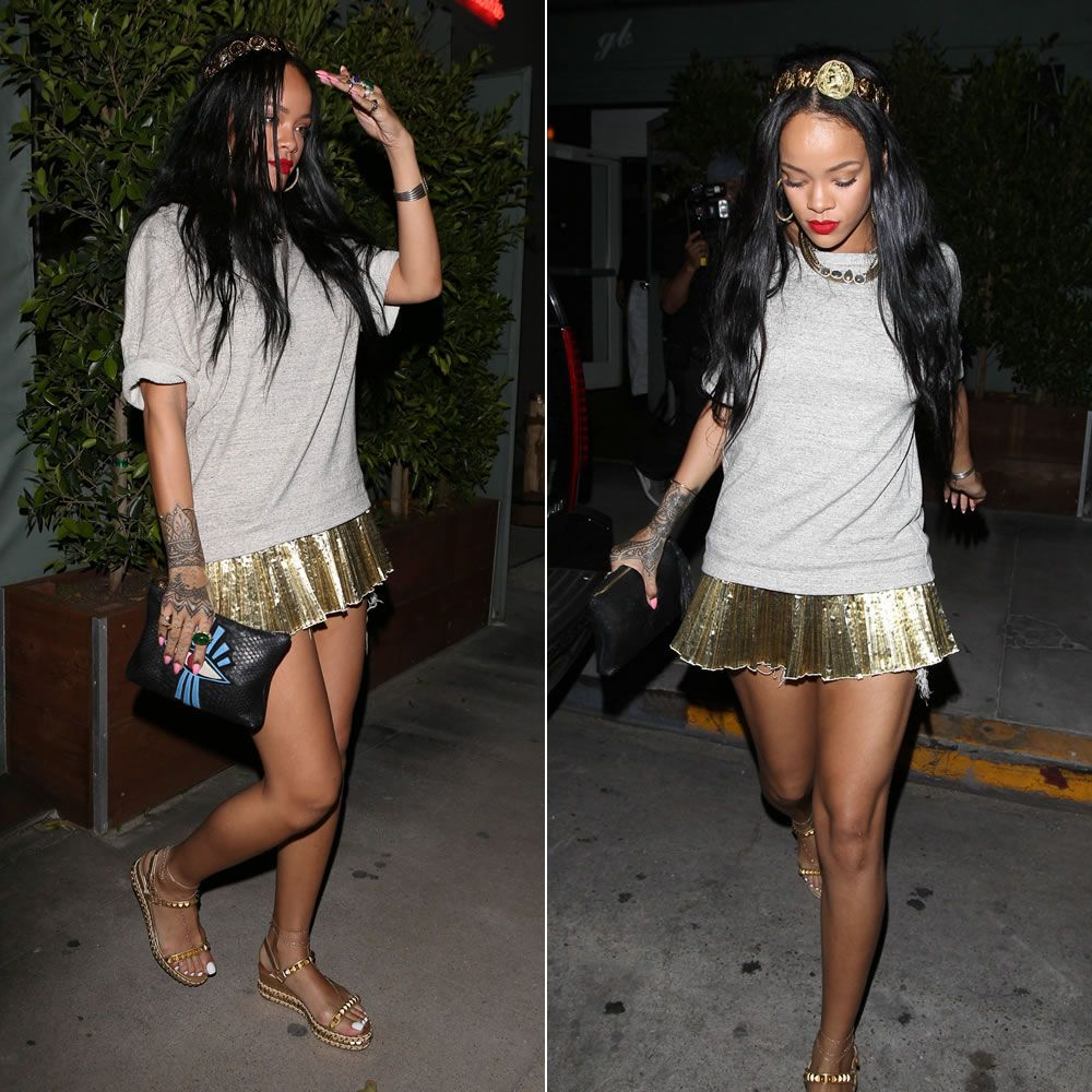 33ceb0b35e3 Rihanna wearing Dries Van Notel grey sweatshirt with pleated gold hem