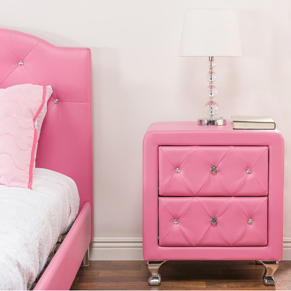 Baxton studio stella pink faux leather upholstered