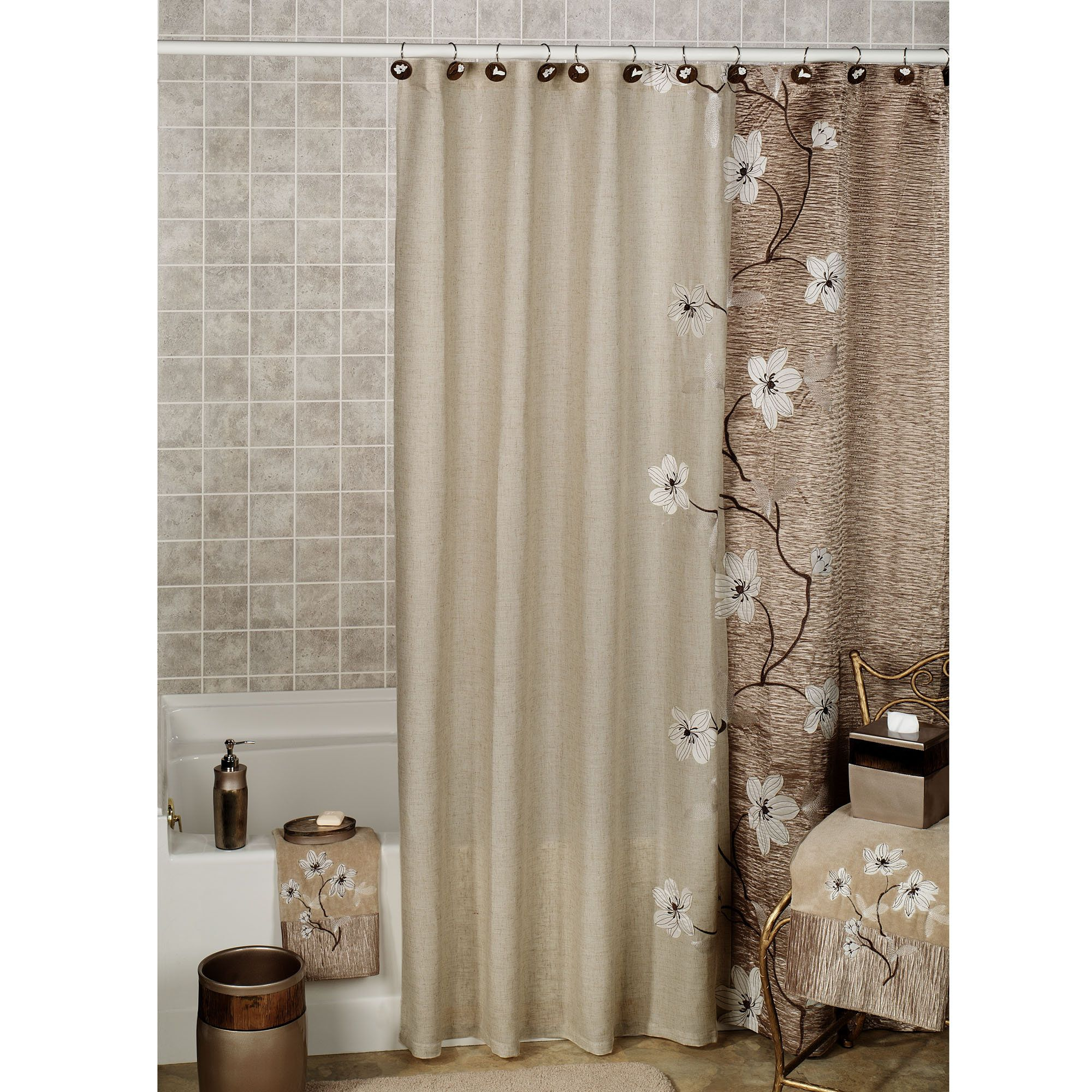 Magnolia Floral Shower Curtain By Croscill Long Shower Curtains