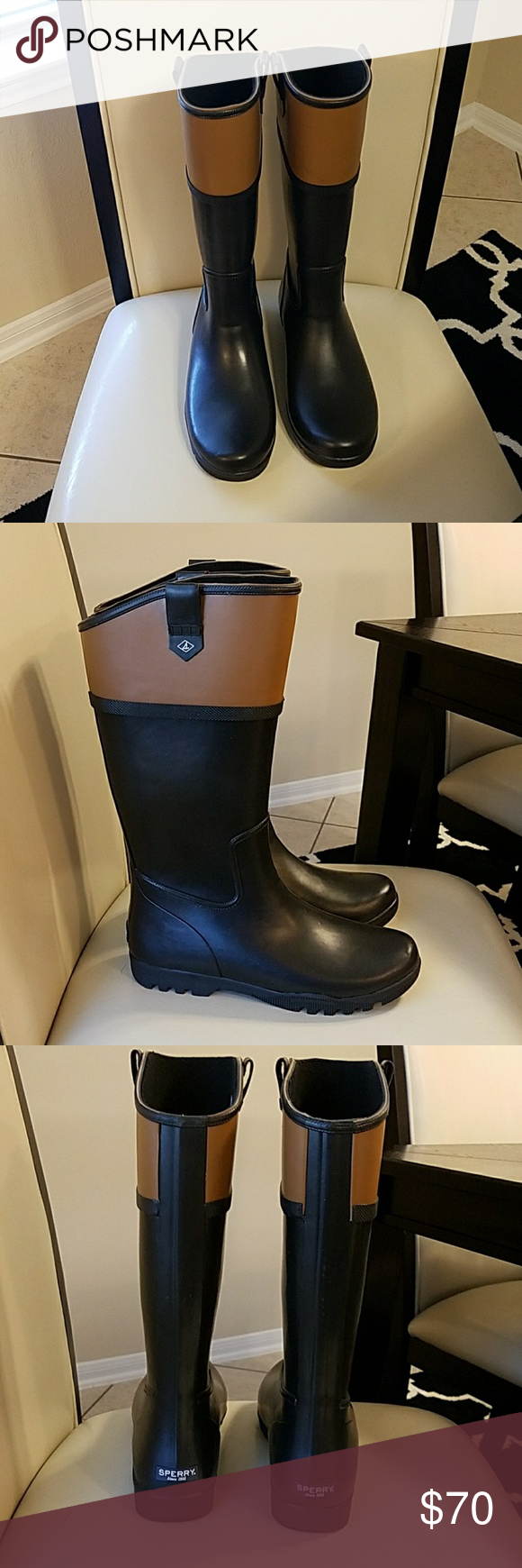5543a0bfe55 New Nellie Kate Black Women Rain Boots New with original packing never worn Rubber  Sperry Rain Boots with black and brown Sperry Top-Sider Shoes Winter ...