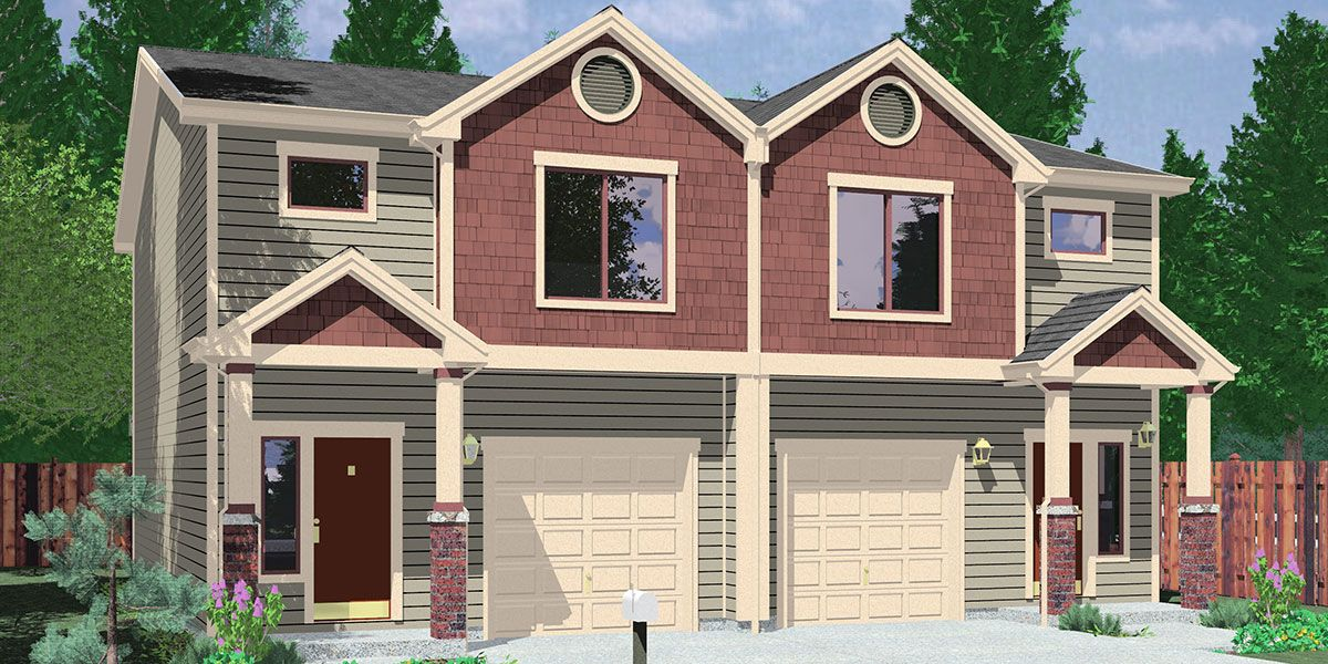 House front color elevation view for d 599 duplex house for Apartment home plans for narrow lots