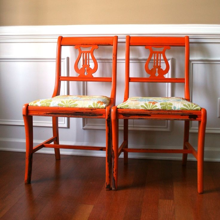 Orange Wooden Lyre Back Dining Chairs