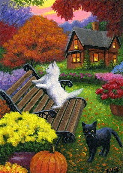 Kittens Cats Autumn Fall Bench Garden House Landscape Original Aceo Painting Art Realism Cat