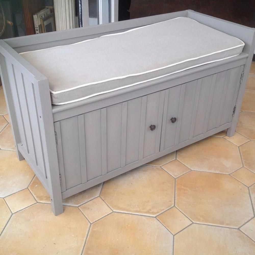 Wooden Window Seat Storage Chest Bench With Cushion In Home