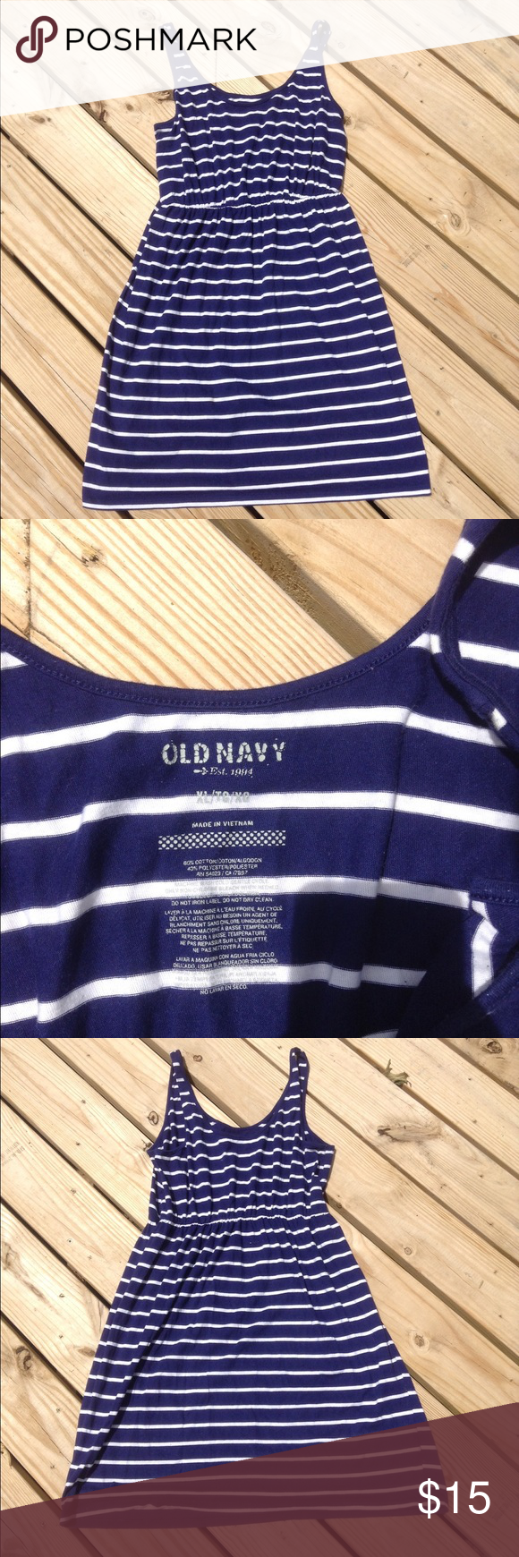 OLD NAVY BLUE AND WHITE STRIPED NAUTICAL DRESS XL Cute good condition Old Navy dress. Size XL. Great for the beach. Old Navy Dresses Midi
